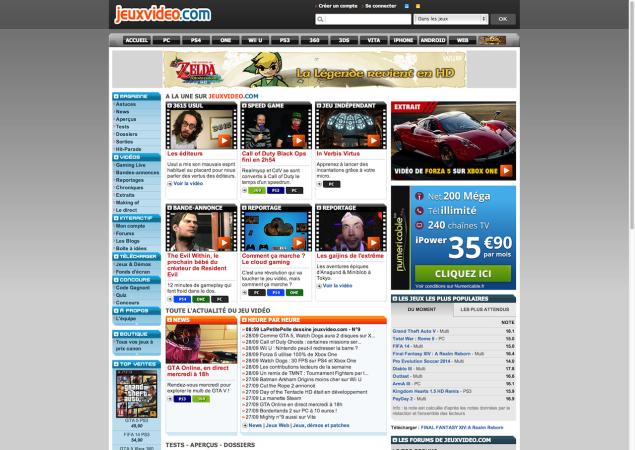Image of jeuxvideo.com design on Sept. 29th